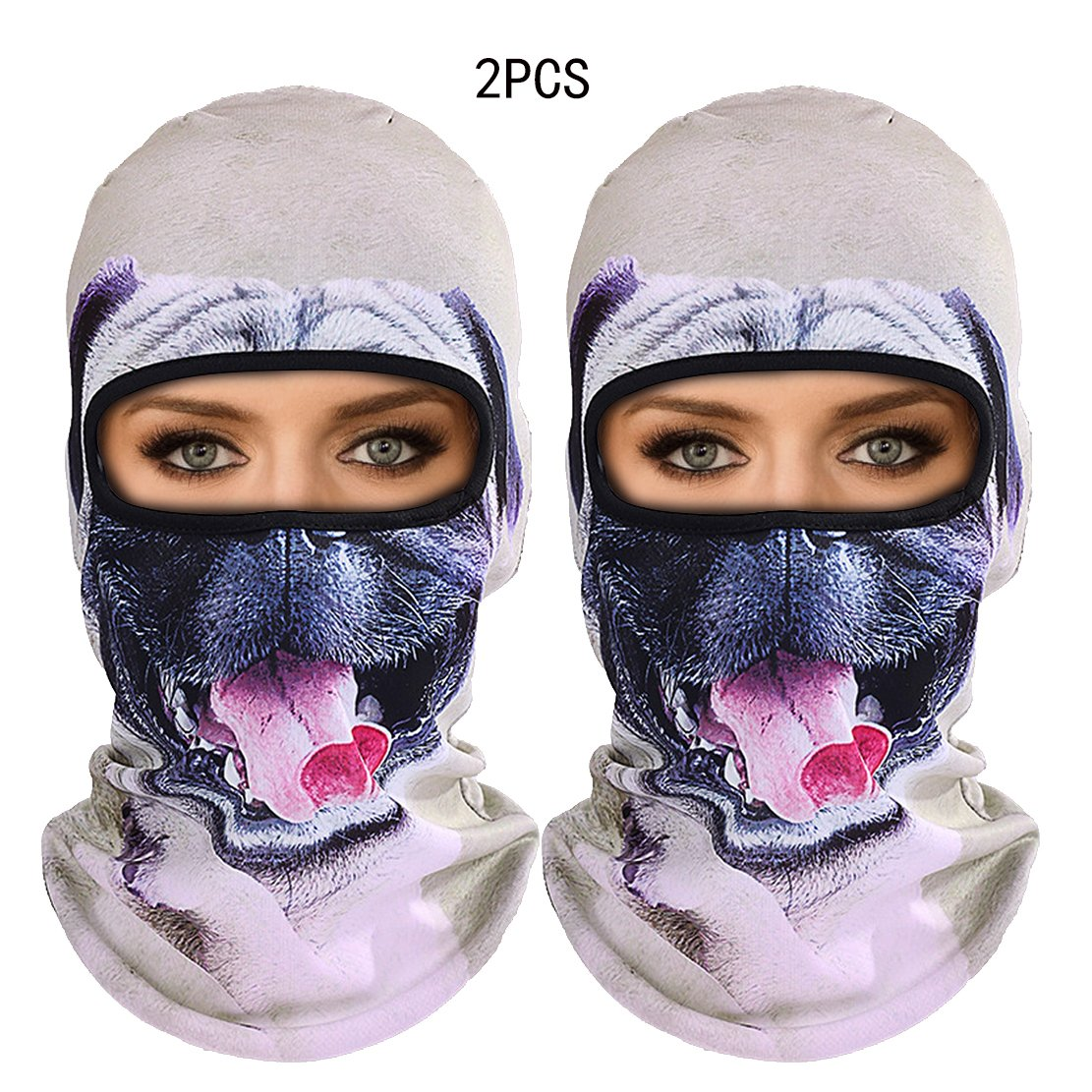 Outgeek Cat Mask, Women Men Balaclava Summer Full Face Hat Animal Ears Sports Helmet Climbing Fishing Cap (Colorful-8 2pcs) by Outgeek (Image #1)