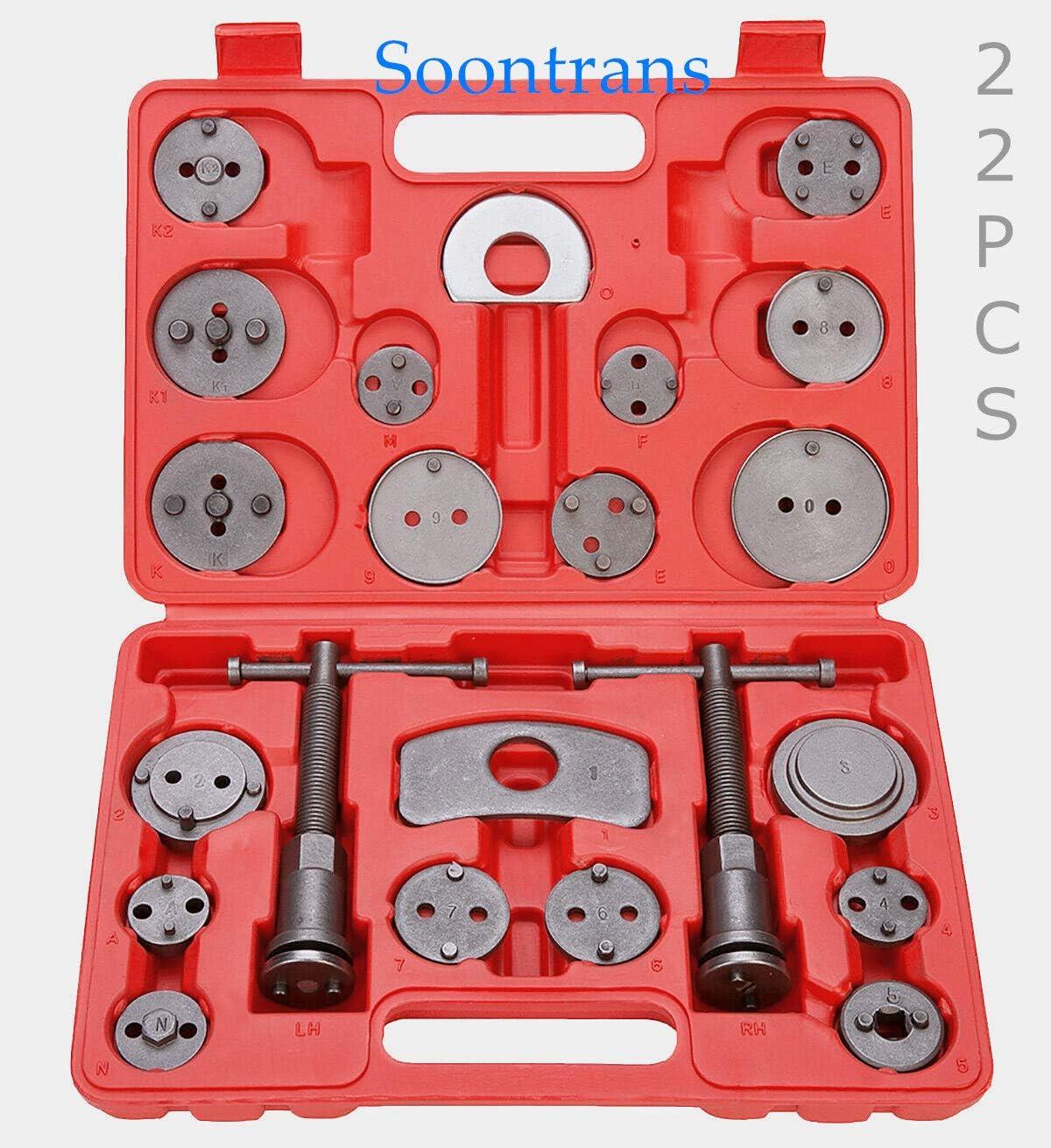 Soontrans-Reposicionador de pistones de freno - Sets de herramientas para las pinzas de freno - compresor pistones freno - 22piezas - reponer pinzas de freno- Kompressor Tool Kit Universal