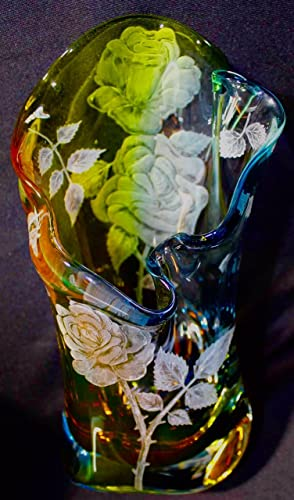 Amazon Hand Engraved Vase Roses Engraved Glass Rose Flower