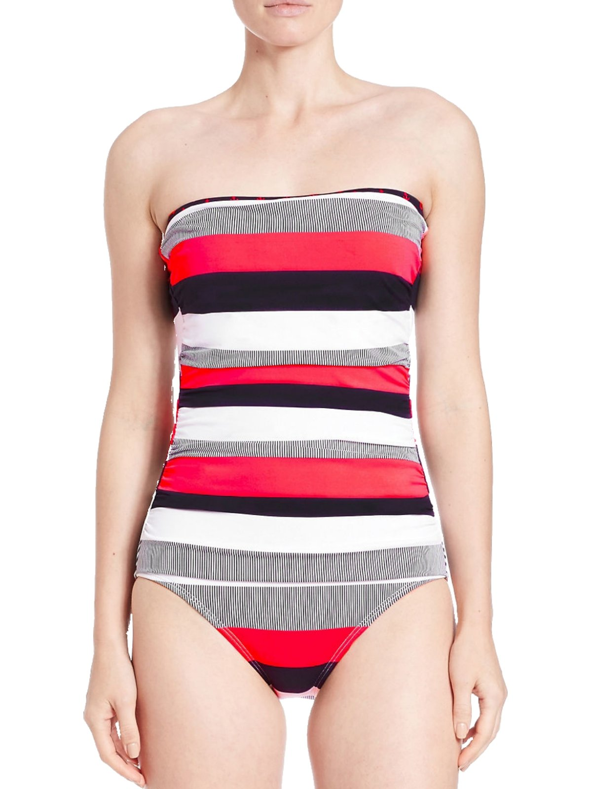 Tommy Bahama Bold Stripe & Anchors Shirred Bandeau Cup Swimsuit (8 Coral/Black)