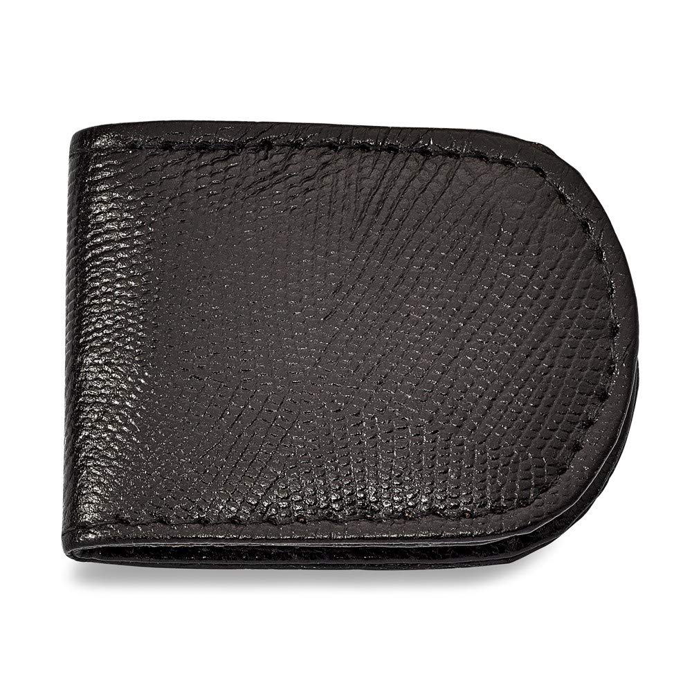 FB Jewels Solid Black Leather Lizard Grain Money Clip