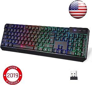 KLIM Chroma Wireless Gaming Keyboard - USB with Led Rainbow Lighting - Backlit, Ergonomic, Quiet, Water Resistant - Black RGB PC Windows PS4 Mac Keyboards - Teclado Gamer Silent Lighted Up Keys