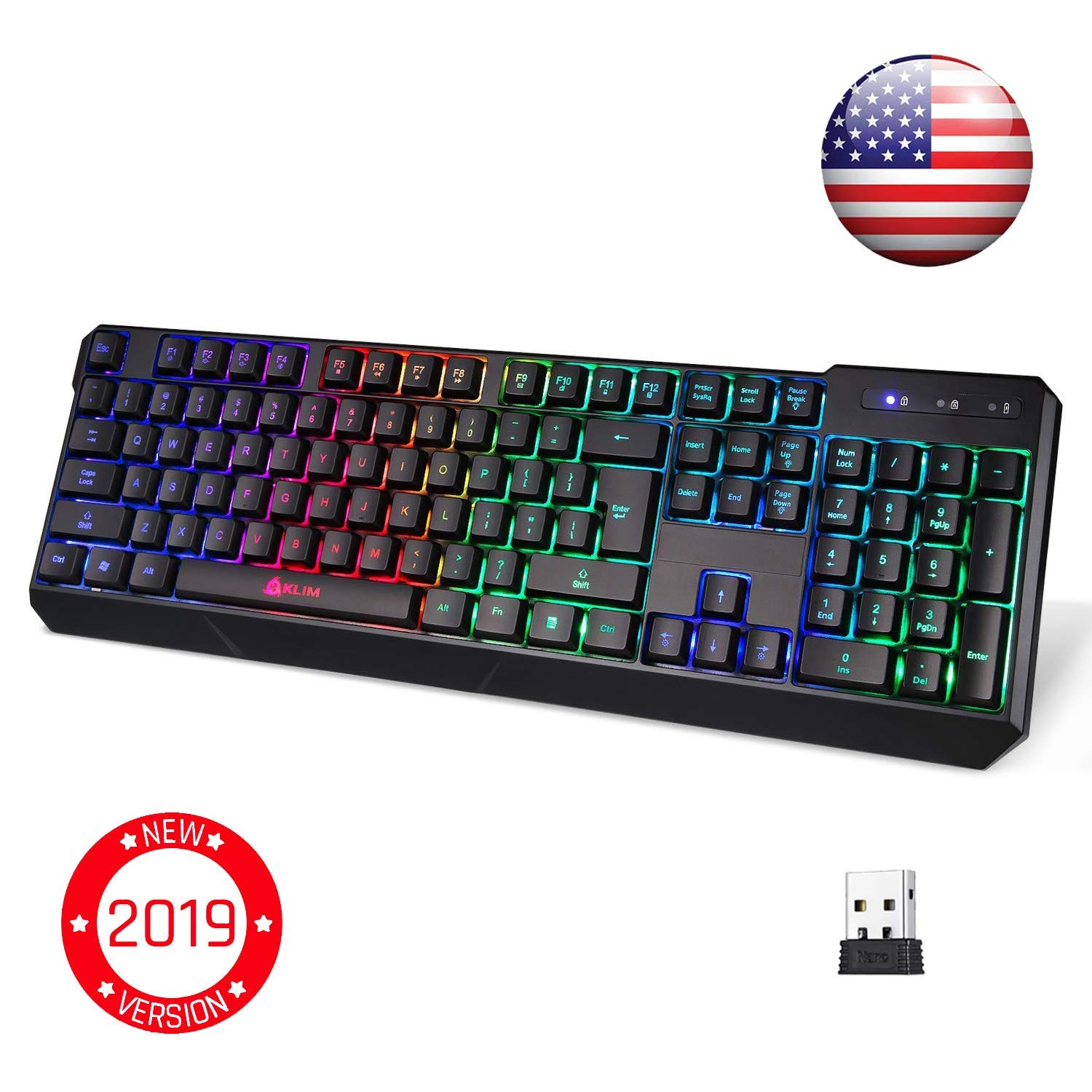 ⭐️KLIM Chroma Wireless Gaming Keyboard - USB with Led Rainbow Lighting - Backlit, Ergonomic, Quiet, Water Resistant - Black RGB PC Windows PS4 Mac Keyboards - Teclado Gamer Silent Lighted Up Keys by KLIM