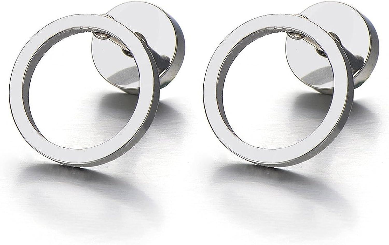 10MM Open Circle Screw Stud Earrings for Men Women Steel Cheater Fake Ear Plugs, 2 pcs