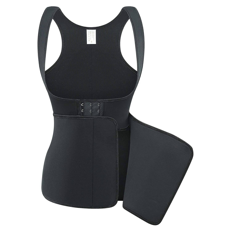 DuofLily Neoprene Sweat Sauna Suit Ajustable Waist Trainer Shaper Tank Top Workout (Black, XL)