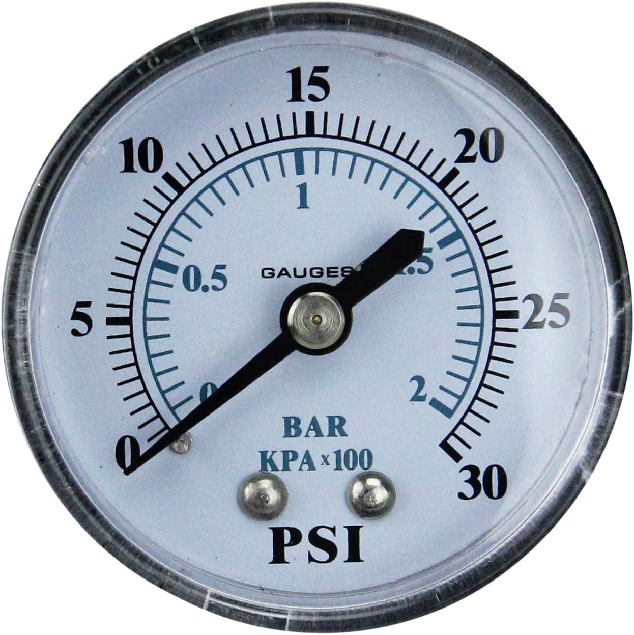 Pool Central 2 Black and White Side Mount Pressure Gauge 0-30 PSI