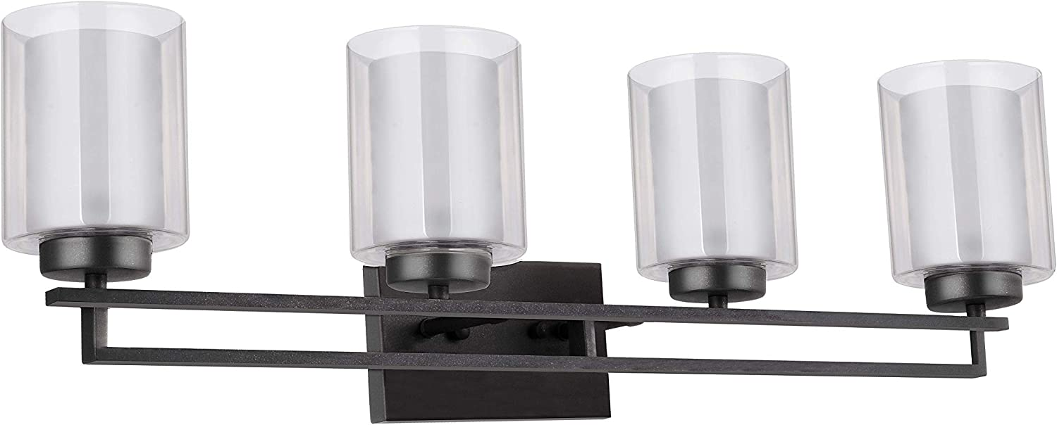 TENGXIN 4 Lights Bathroom Vanity Wall Lamp with Glass Shade in Oil Rubbed Bronze,Up Down Interior Wall Lamp,UL Listed