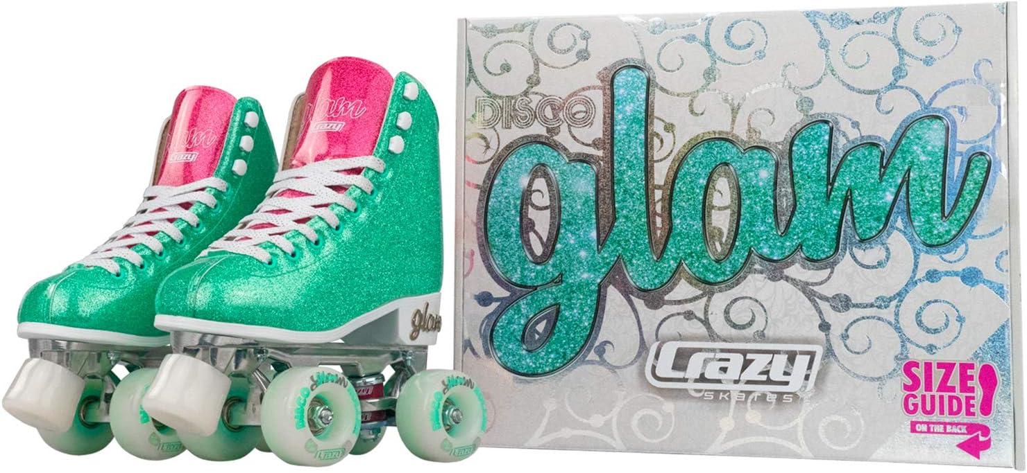 Crazy Skates Glam Roller Skates for Women and Girls Dazzling Glitter Sparkle Quad Skates