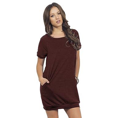 T Shirt Kleid mit Taschen runder Ausschnitt kurze Ärmel