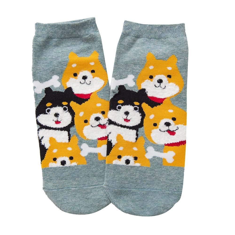 Oldeagle 1 Pair Women Cute Dog Winter Cotton Warm Socks Home Soft Socks (Green)