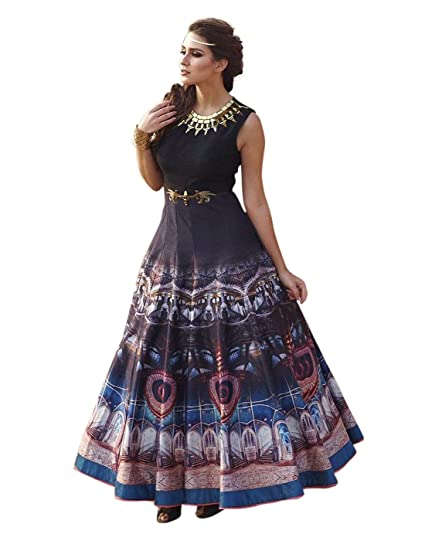 5b6246716856 7thWonder Navy Blue & Turquoise Color Banglori Silk & Digital Printed  Embroidered Semi-Stitched Designer Gown-7WI91GN1111: Amazon.in: Clothing &  Accessories