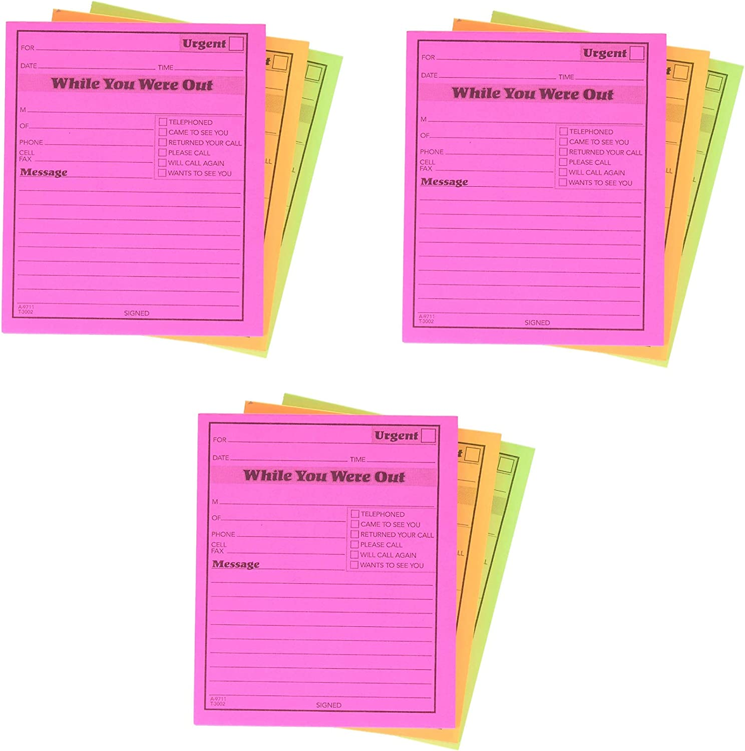50 Sheets//Pad 6-Pack 4.25 x 5.25 Inches Adams While You Were Out Pads Assorted Neon Colors 9711NEON