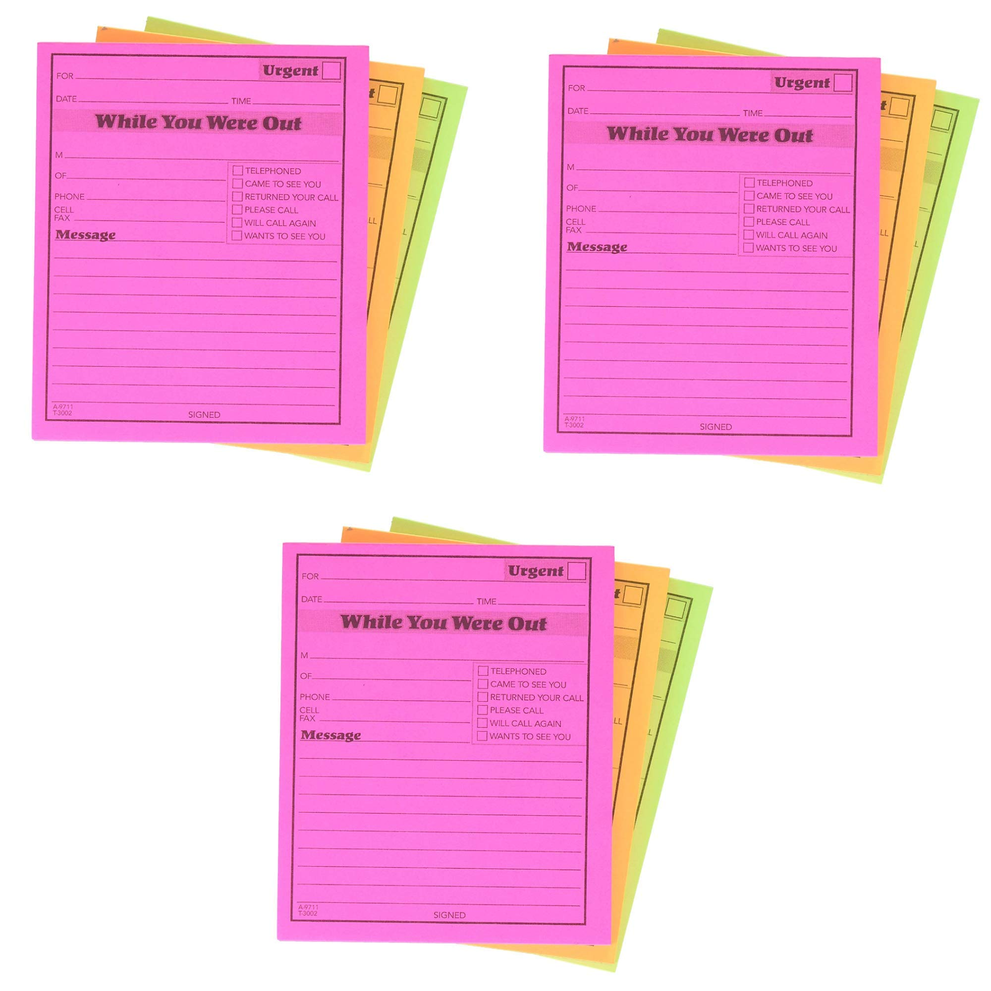Adams While You were Out Pads, 4.25 x 5.25 Inches, Assorted Neon Colors, 50 Sheets/Pad (18-Pack) (9711NEON) by Adams