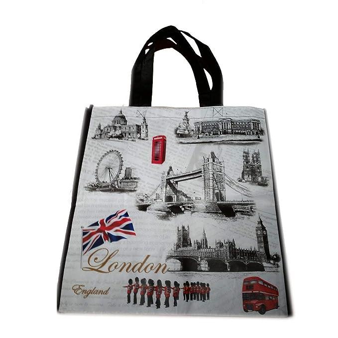 My London Souvenirs - Bolsa de mano con diseño de monumentos icónicos de LondresBolso para compras, reutilizable. Souvenir.Bolsa de mano de Londres.