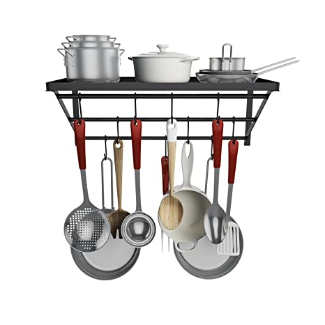 Homevol Kitchen Wall Mounted Pot Rack With 10 Hooks, Multi Functional  Storage Rack Shelf