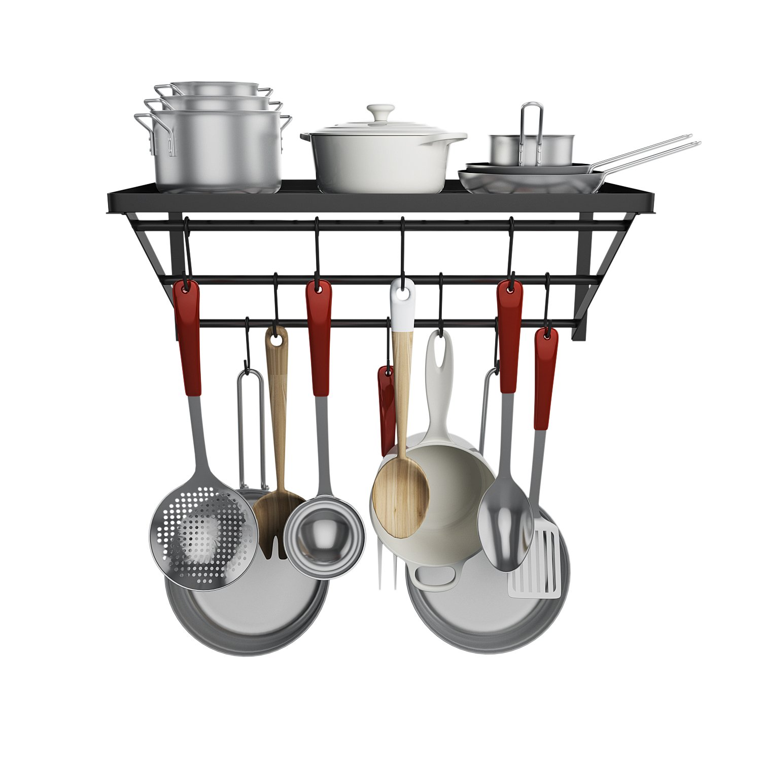 [ US STOCK ] Pot Pan Rack, Home Kitchen Cooking Food Wall Mounted Floating Storage Organizer With 10 Hooks Black Stainless Steel (Black)