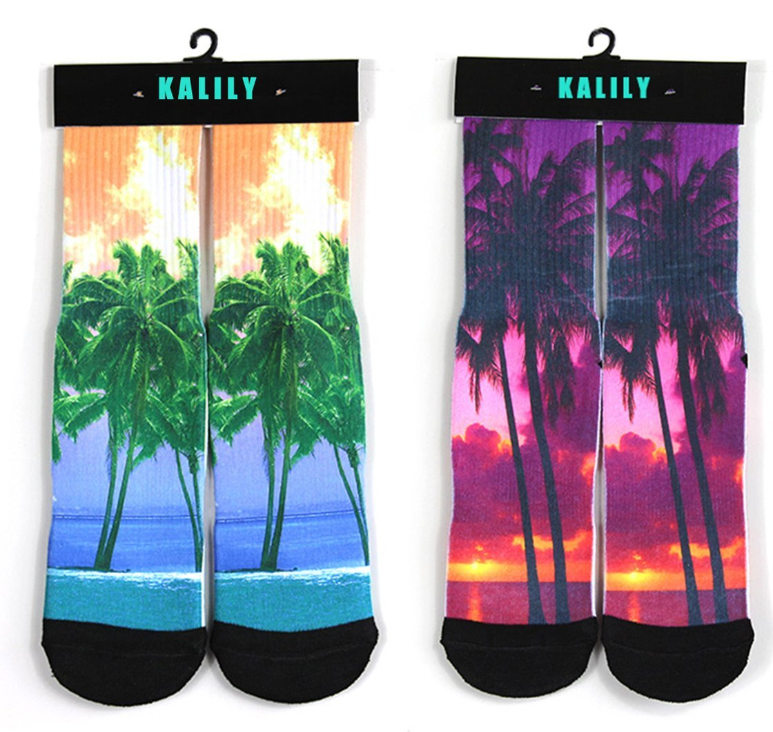 Kalily Custom Printed Summer Beach Socks with Design - Pack of 2 Pairs (4 PCS) (Set 5)
