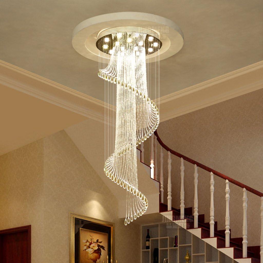 L/ámparas Colgantes Moderna bola espiral de lluvia de cristal de ara/ñas de luz de techo linterna K9 bola de cristal girar escaleras Tama/ño : 12 lights//70 * 230cm