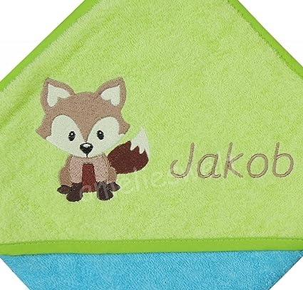 amelieswelt Toalla con capucha con nombre y diseño para niños o niña 80 cm x 80