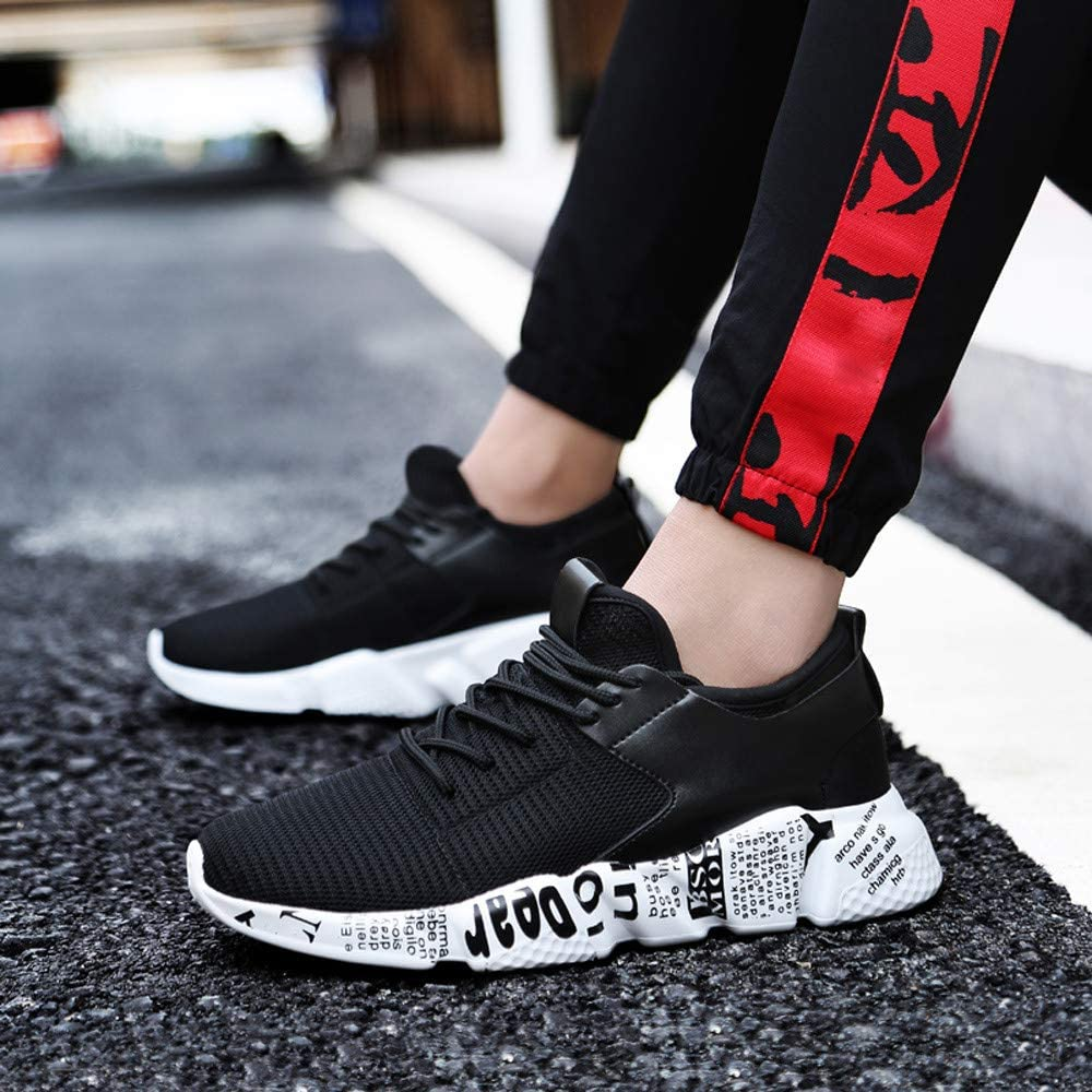 Toraway Men Outdoor Mesh Shoes Casual Lace Up Comfortable Soles Running Sports Shoes Mens Lightweight Sneakers