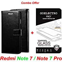 Goelectro Redmi Note 7 / Note 7 Pro (Combo Offer) Leather Dairy Flip Case Stand with Magnetic Closure & Card Holder Cover + Tempered Glass Full Screen Protection (Black-Transparent)