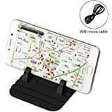 Universal Phone Stents, Car Mount Silicone Pad Non-Slip Mat Phone Car Holder Stand Cradle Dock with Micro Charging Cable Compatible for Phone Samsung S8 S7 S6 iPhone X 8 6/6S/7Plus and GPS (Black)