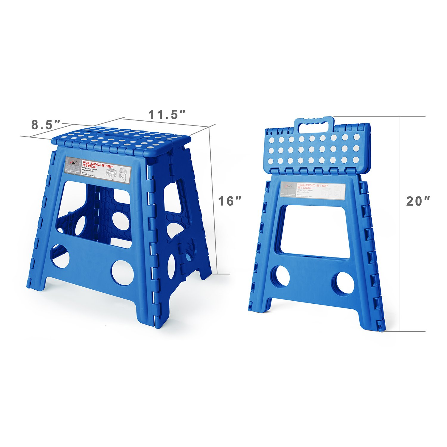 Acko 16 Inch Super Strong Folding Step Stool for Adults and Kids Kitchen Garden Usage Blue by Acko (Image #2)