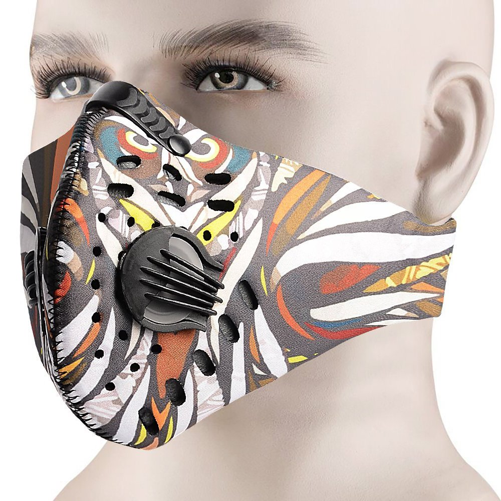 MoHo Dust Mask, Upgrade Version Activated Carbon Dustproof Mask Windproof Foggy Haze Anti-Dust Mask Motorcycle Bicycle Cycling Ski Half Face Mask for Outdoor Activities (Camouflage)