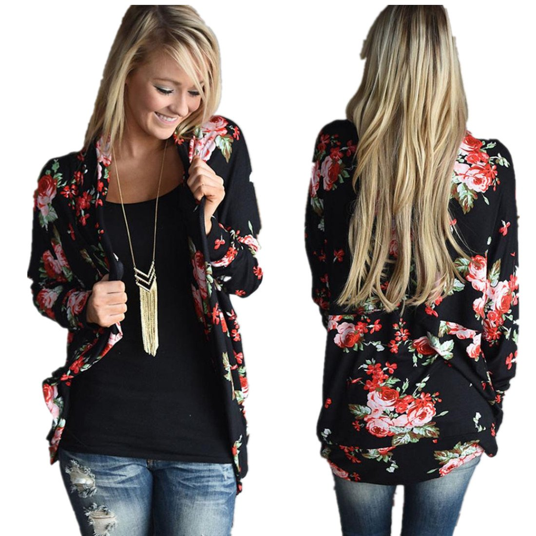 SunWard(TM) Women Irregular Long Sleeve Cardigans Casual Outwear Coat (Large, Black)