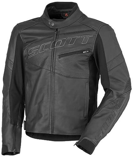 Scott Track Chaqueta Piel moto chaqueta negro 2016: Amazon ...