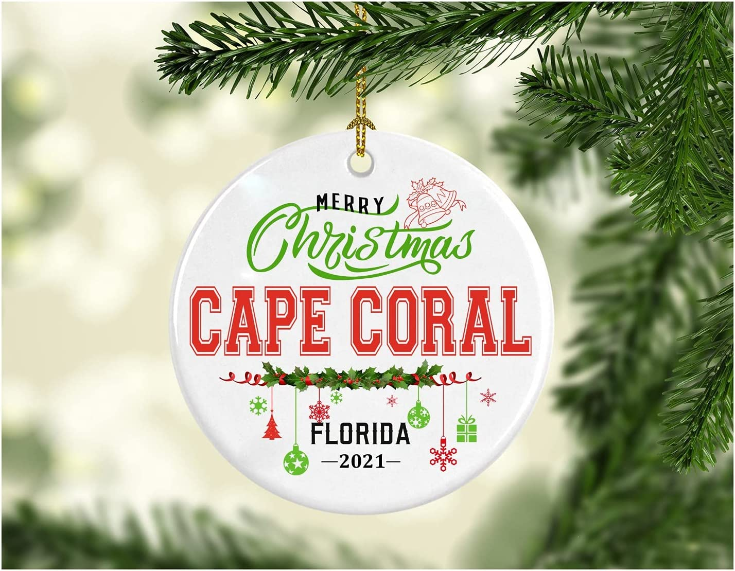 Christmas Decorations Tree Ornament - Gifts Hometown State - Merry Christmas Cape Coral Florida 2021 - Gift for Family Rustic 1St Xmas Tree in Our New Home 3 Inches White