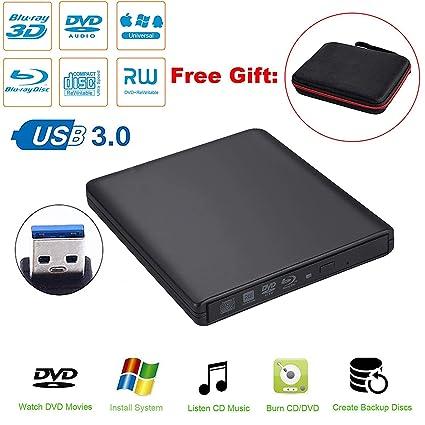 Guamar External Blue-Ray Drive,USB 3 0 Aluminum Blu-Ray Drive CD/DVD  Burner/Writer with 3D Blu-ray Disc Playback,Super-Fast Blu-Ray Writing  Reading