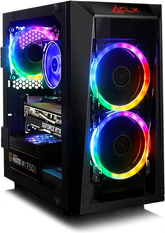 CLX Set, Performance Gaming Desktop, AMD Ryzen 7 3700X Processor, B450 MATX,16GB DDR4, GeForce RTX 2060 Super 8GB, 240GB SSD + 2TB HDD, WiFi, Black Mini-Tower RGB Fans, Windows 10 Home