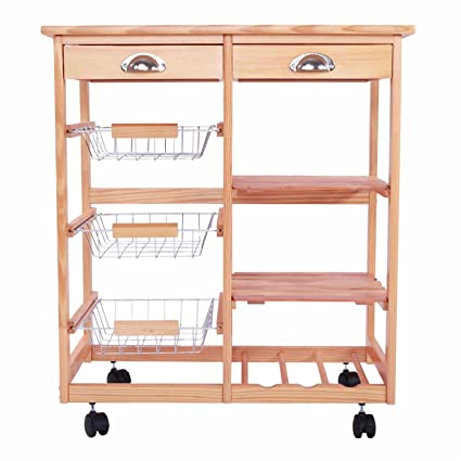 SHUTAO Kitchen U0026 Dining Room Cart 2 Drawer Removable Storage Rack With  Rolling Wheels Wood