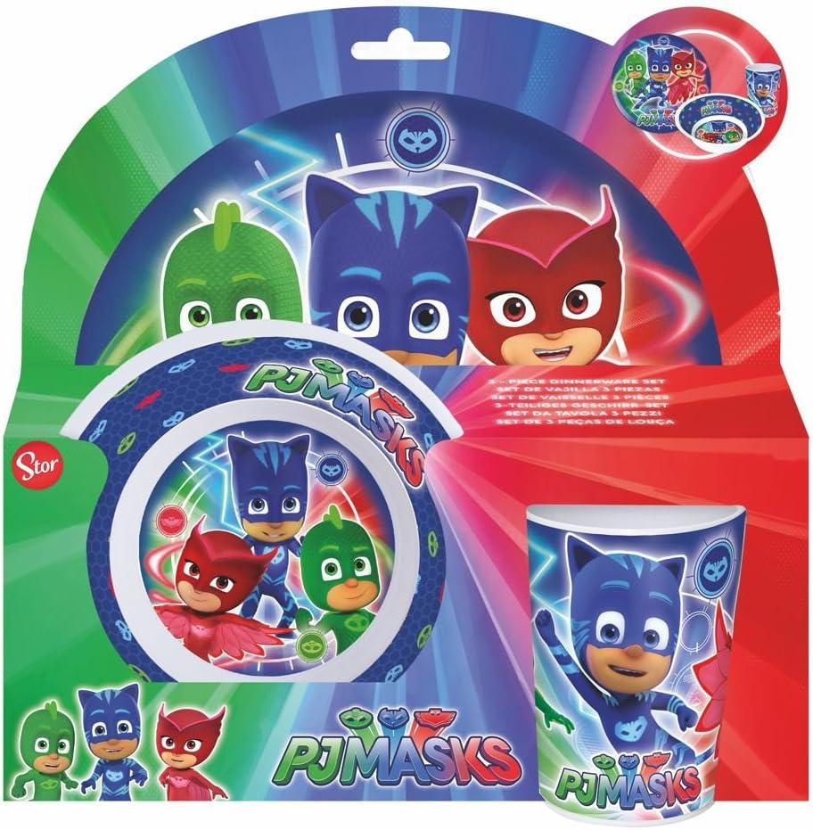 tenedor PJ Masks Juego de vajilla de 5 piezas taza cuchara 5 juego de comida Juego de platos para ni/ños