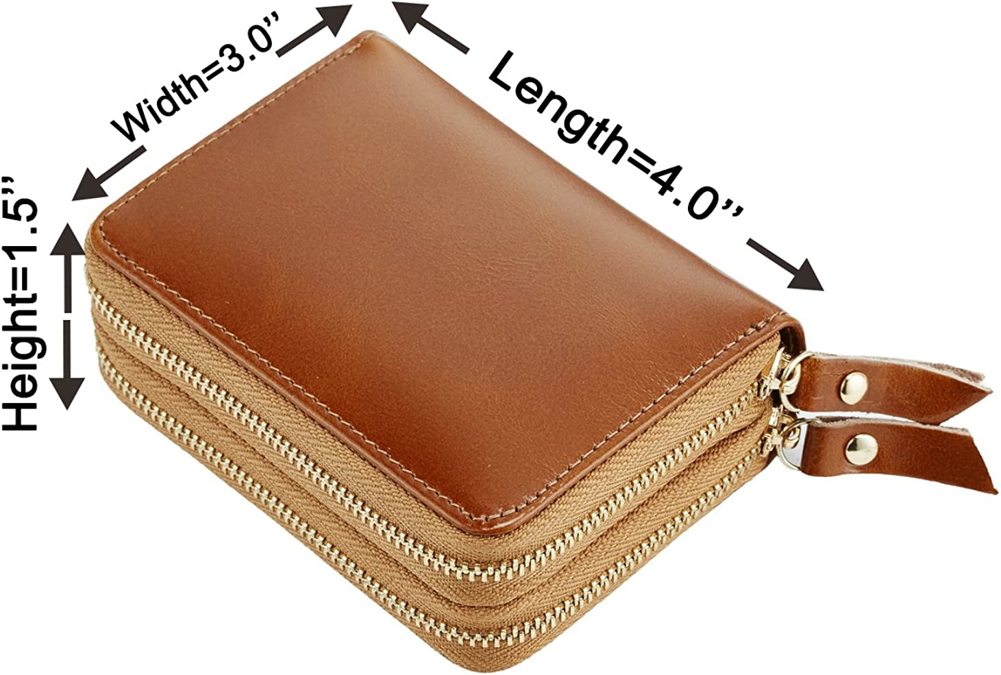 NapaWalli Womens Genuine Leather RFID Secure Spacious Cute Zipper Card Wallet Small Purse
