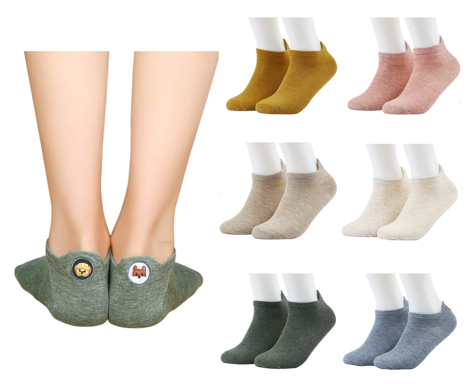 Sallcks Womens Girls Cute Dog Ankle Socks Low Cut Casual Cotton Hipster Socks 6 Pairs