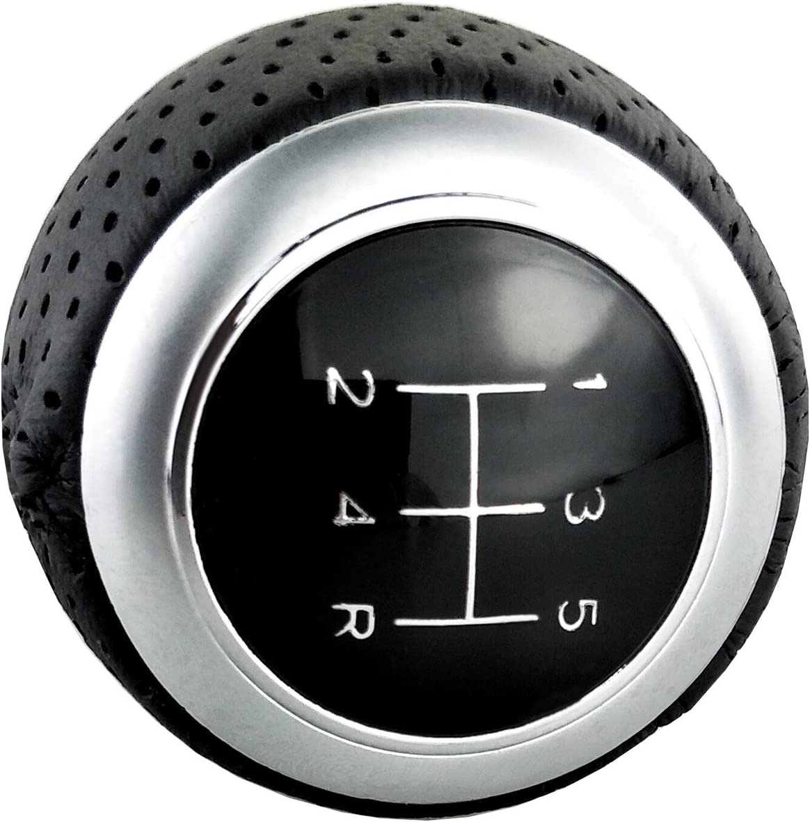 Lunsom Leather Stick Shifter Knob Manual 5 Speed Ball Car Gear Shift Head Shifting Lever Handle Fit Universal Auto Transmission Vehicle Black