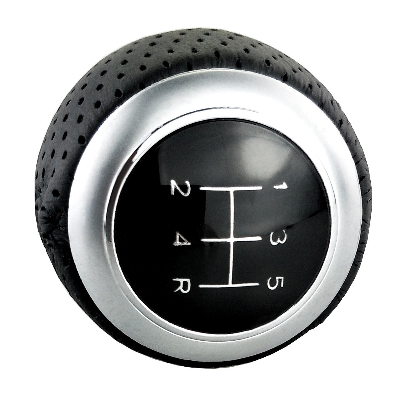 Lensuntom LUNSOM 5 Speed Shifter Knob Leather Universal Manual Transmission 5-SPD R Style Red Suture Gear Stick Shift Knobs Head