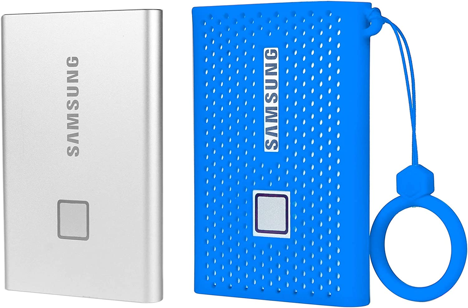 getgear Silicone Bumper for Samsung T7 Touch Portable SSD Strong-Shock Absorbing 2TB 500GB USB 3.2 1TB Slip-Resistant- Blue