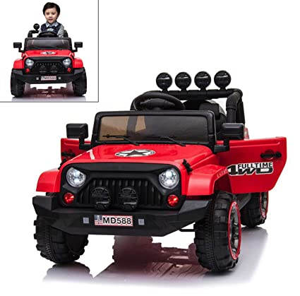 c959f1816023 Image Unavailable. Image not available for. Color: 12V Battery Kids Ride on Cars  Electric Power Remote Control 4 Speed Jeep Red