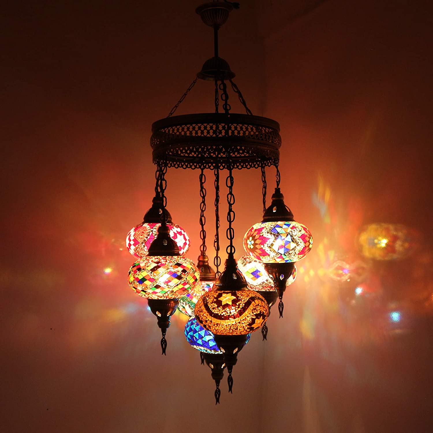 Chandelier, Ceiling Lights, Turkish Lamps, Hanging Mosaic Lights, Pendant, Red Glass, Color Glass, Moroccan Lantern, 5 Bulbs, Express Shipping