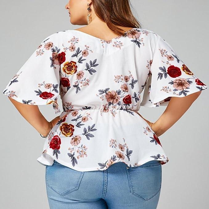 Blusas para Mujer Rawdah Mujer Sexy Blusa Estampado De Flores De ...