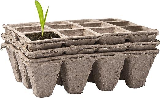 CostMad – 4 x papel de fibra de turba Biodegradable planta maceta ...