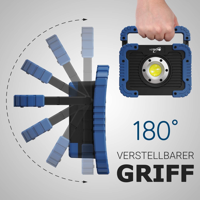 Werkstattlampe mit 450 Lumen COB LED batteriebetrieben sto/ßfest LED Arbeitsleuchte Strahler Arbeitsscheinwerfer Flutlicht Arbeitslampe HEITECH LED Batterie Baustrahler 5W