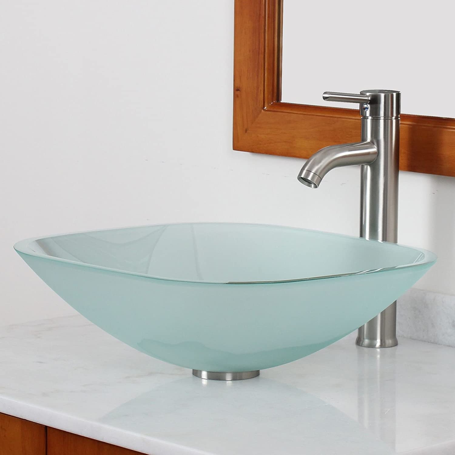 ELITE Bathroom Square Frosted Glass Vessel Sink Brushed Nickel Faucet Combo
