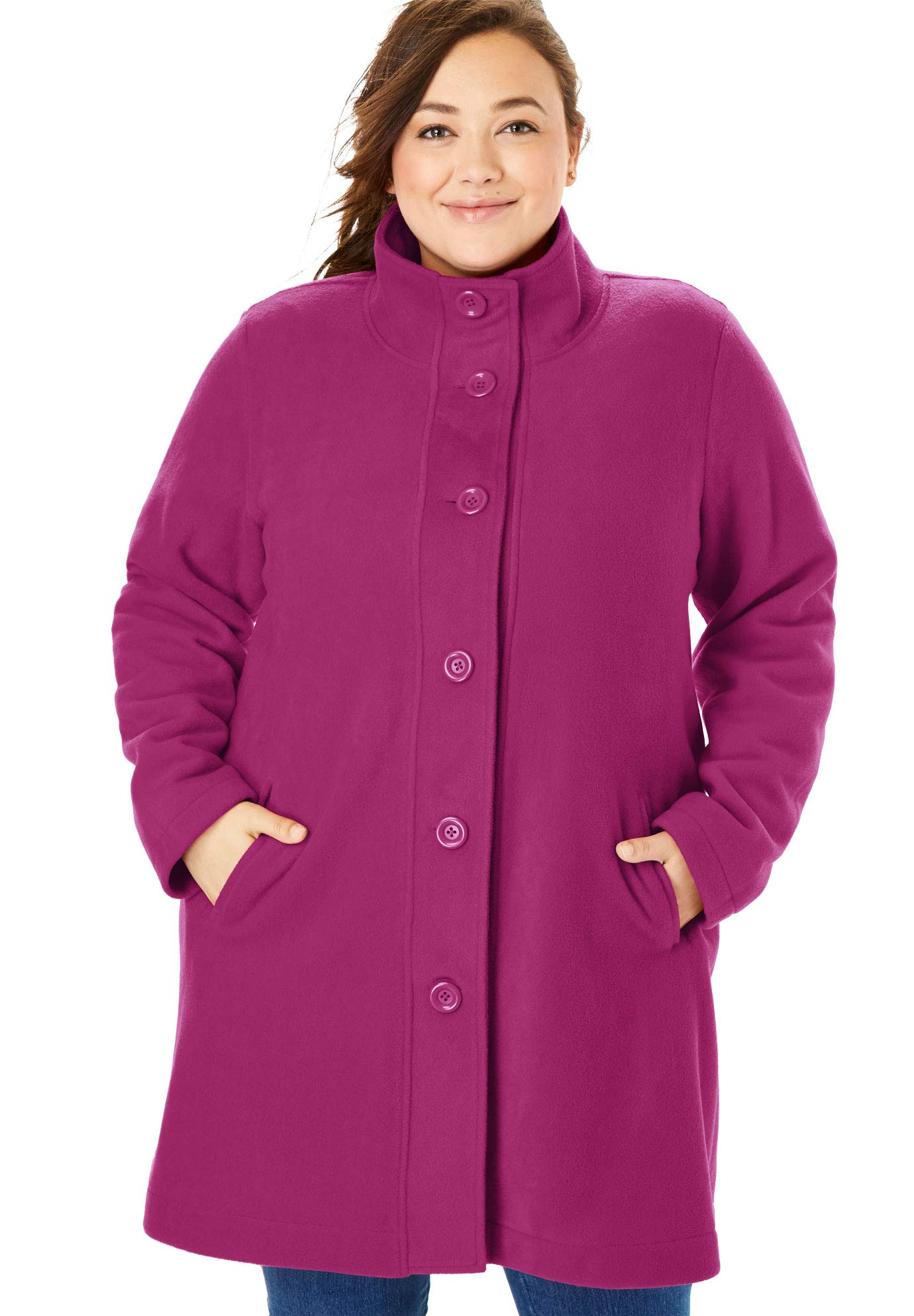 Woman Within Women's Plus Size Fleece Swing Funnel-Neck Coat - Raspberry, L by Woman Within