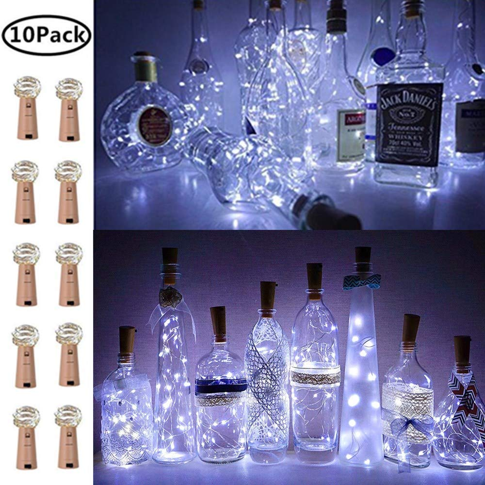 Wine Bottle Lights with Cork, 10 Pack Battery Operated LED Cork Shape Silver Copper Wire Colorful Fairy Mini String Lights for DIY, Party, Decor, Wedding Indoor Outdoor(Cool White) (Cool White 10 Pack) Fansheng FS-D018