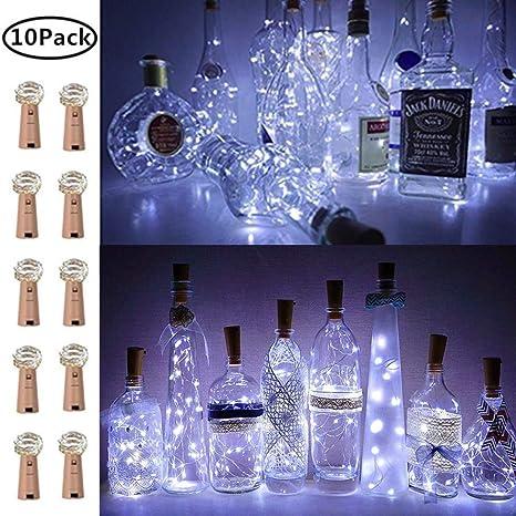 Luces de Botella de Vino con Corcho, 10 Unidades, Funciona con Pilas, LED