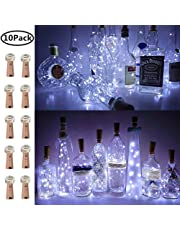 Wine Bottle Lights with Cork, 10 Pack Battery Operated LED Cork Shape Silver Wire Fairy Mini String Lights for DIY, Party, Decor, Wedding Indoor Outdoor(Cool White)